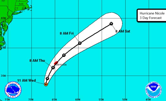 10-12 Hurricane Nicole 3 Day Track Forecast