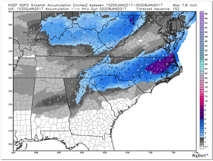 NDFD Snow Forecast