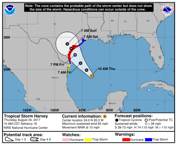 8-24 Harvey Track Forecast