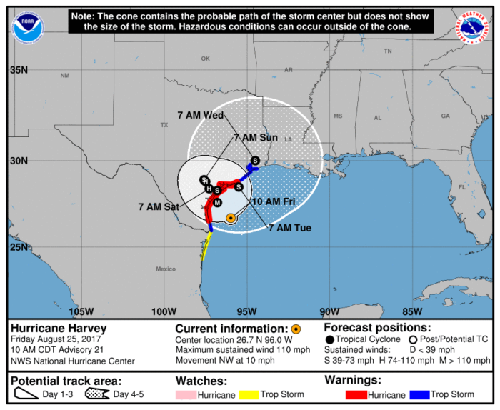 8-25 Harvey Track Forecast