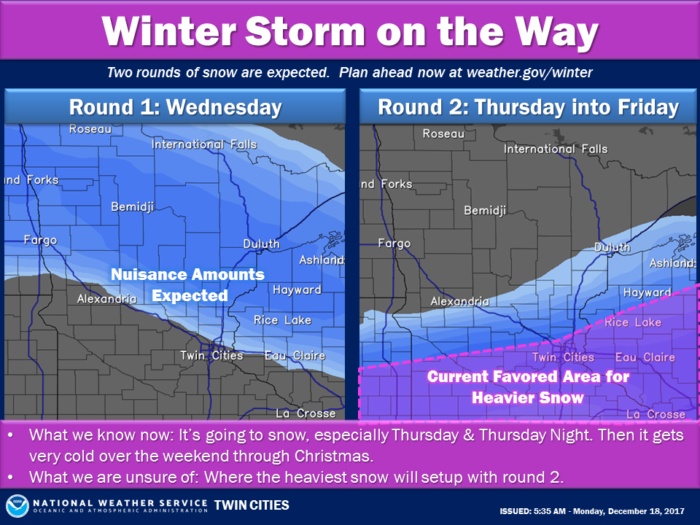 Snow Graphic via NWS Twin Cities