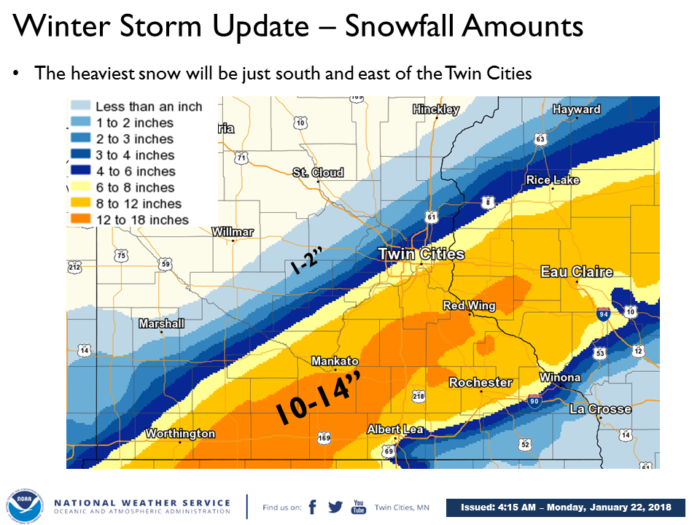 1-22 NWS Twin Cities Snow Forecast
