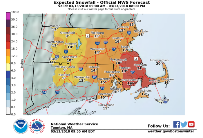 3-13 NWS Boston snow forecast
