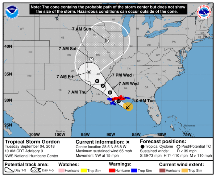 9-4 Gordon Forecast Track