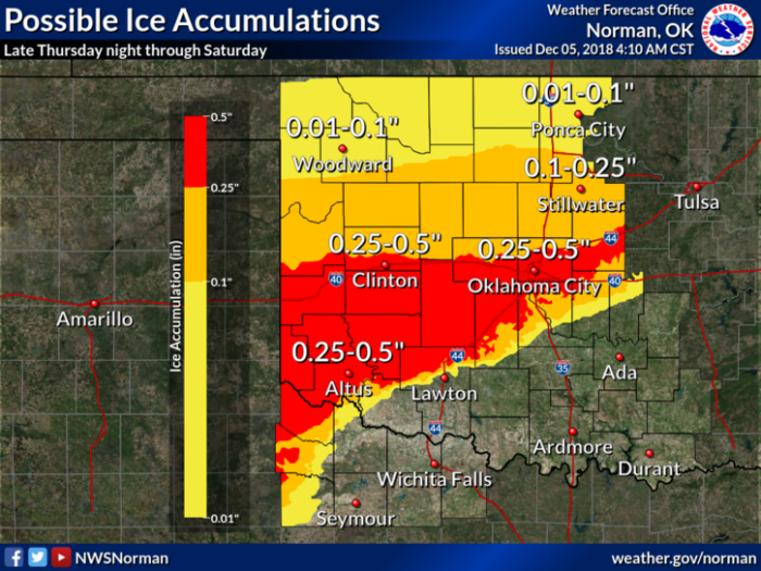 Ice Forecast via NWS Norman