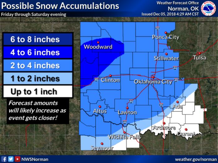 Snow Forecast via NWS Norman