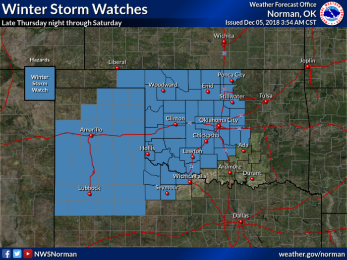Winter Storm Watch via NWS Norman