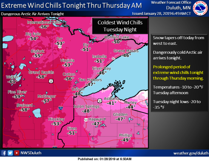 Wind Chill Forecast via NWS Duluth
