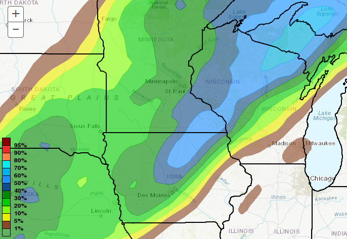 "Probability of over 4"" of snow"