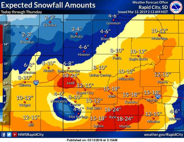 3-13 Blizzard via NWS Rapid City