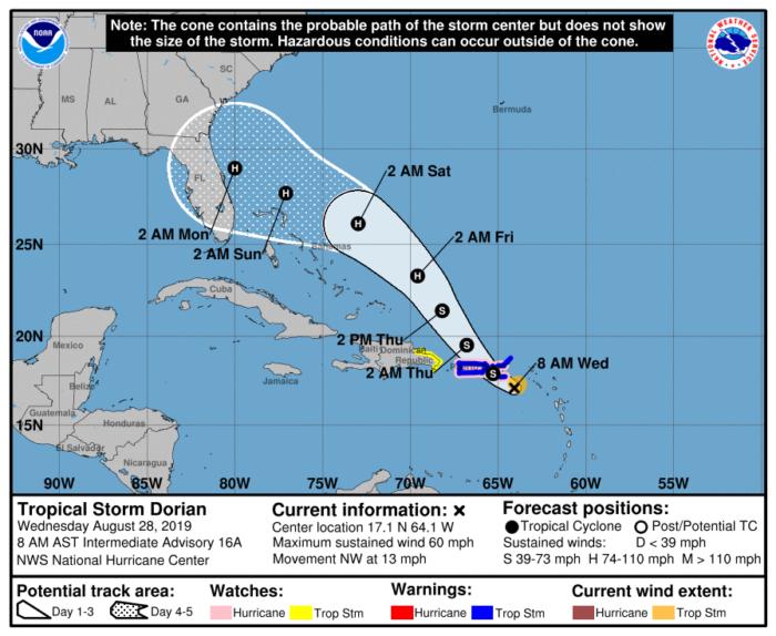8-28 Dorian Forecast Track
