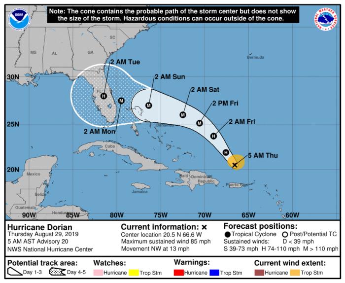 8-29 Dorian Forecast Track