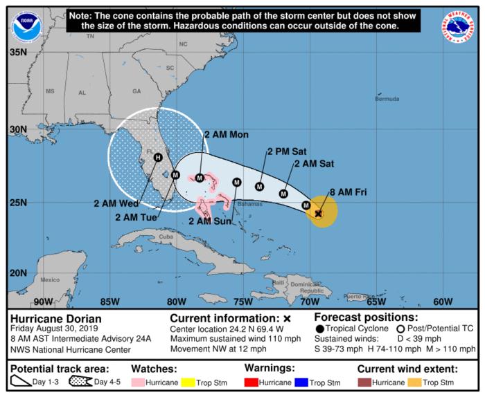 8-30 Dorian Forecast Track