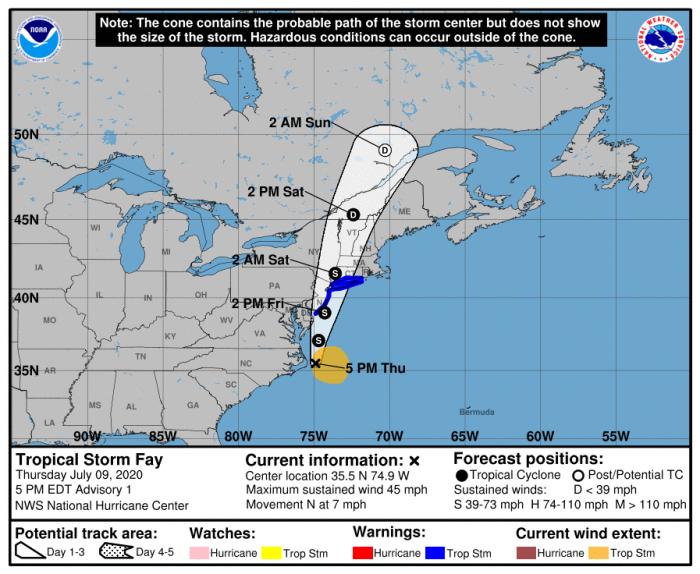 7-9 Fay Track Forecast