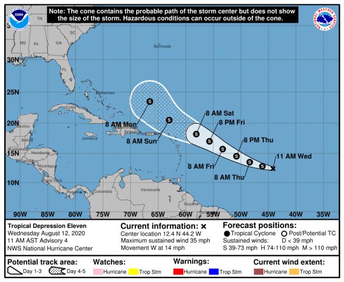 8-12 TD 11 Forecast Track