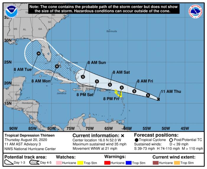 8-20 Tropical Depression 13 Forecast Track