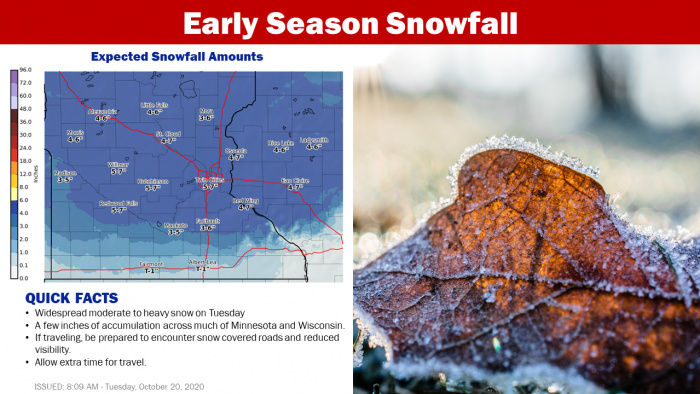 10-20 Snow Forecast via NWS Twin Cities