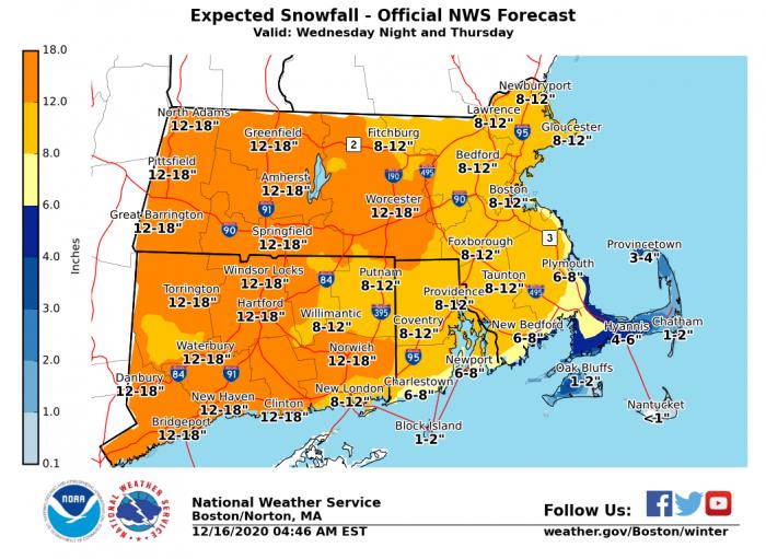 12-16 Snow Forecast via NWS Boston