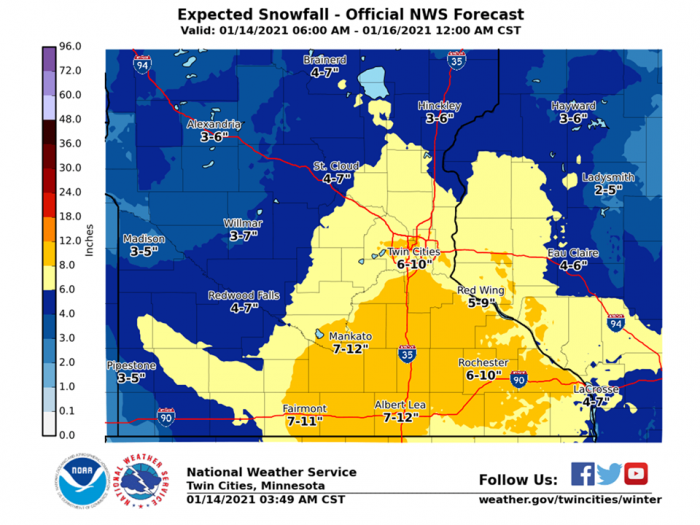 1-14 Forecast Snow via NWS Twin Cities