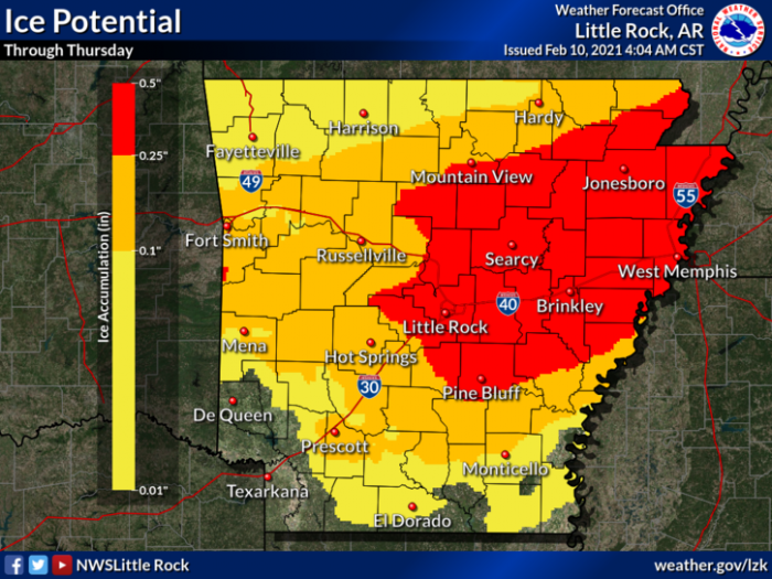 2-10 Ice via NWS Little Rock