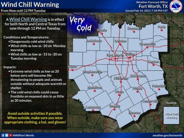 2-15 Wind Chills via NWS Dallas
