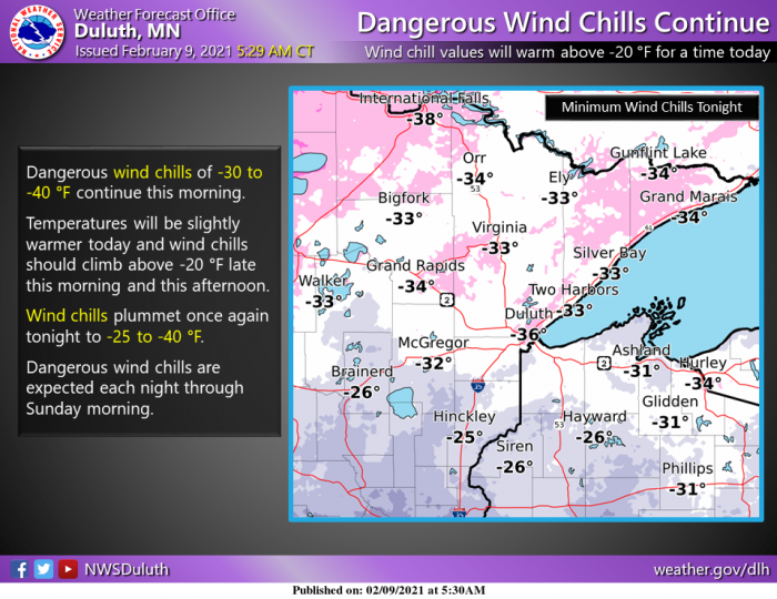 2-9 Cold via NWS Duluth