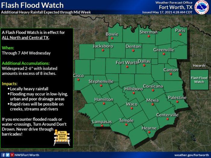 5-17 Flooding via NWS Fort Worth
