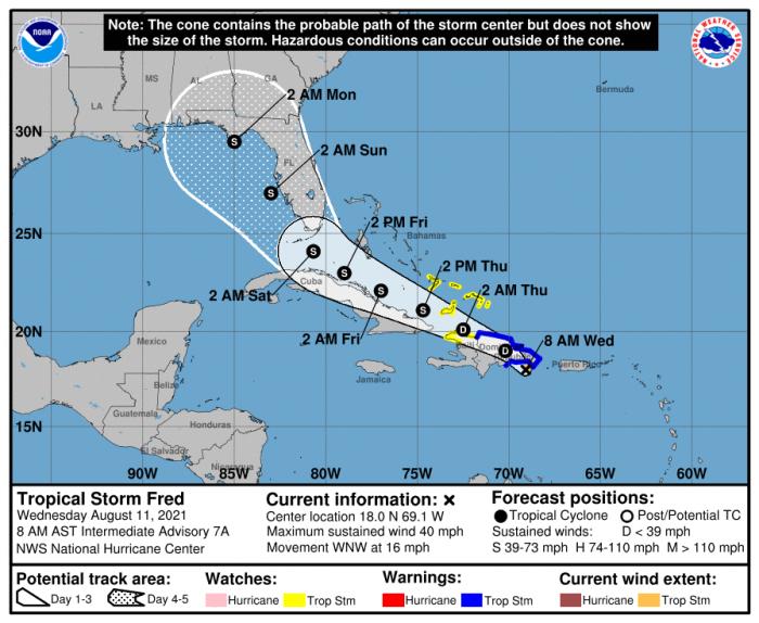 8-11-21 TS Fred Forecast Track