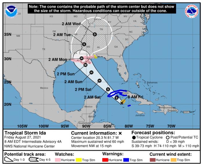 8-27 Ida Forecast Track